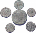 6 Ancient Roman coins from Europe including 1 large!