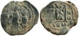 Byzantine coin of Heraclius, 5 Oct 610 - 11 Jan 641 A.D., and Heraclius Constantine, 23 Jan 613 - 20 Apr 641 A.D