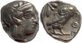 Ancient Greek coin from Athens AR tetradrachm circa 449-430 BC