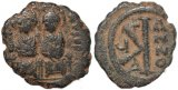 Byzantine coin of Justin II and Sophia - Ae half follis - Thessalonica - clashed die