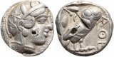 Ancient Greek coin - Athenian silver tetradrachm circa 449-431BC