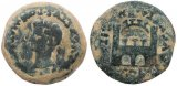 Roman coin of Emperor Tiberius - Spain - Emerita, City Gate Reverse Ae25