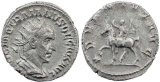 Roman coin of Trajan Decius AR Antoninianus - ADVENTVS AVG