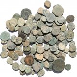 125 Ancient Holyland found Roman and Nabatean coins - 8-26mm