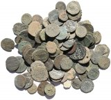 105 Ancient Uncleaned Roman coins 11-25mm