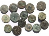 16 Ancient Uncleaned Roman Provincial coins 16-23mm