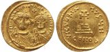 Byzantine gold coin of Heraclius and Heraclius Constantine AV Solidus