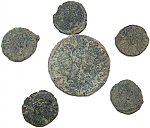 6 Uncleaned Ancient Roman coins from Europe & Spain including 1 large sized!