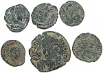 6 Uncleaned Ancient Roman coins from Spain - all with detail
