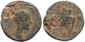 Roman coin of Gordian III AE21 of Carrhae in Mesopotamia