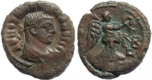 Roman coin of Maximianus and Nike