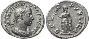 Roman silver coin of Severus Alexander AR silver denarius - SPES PVBLICA