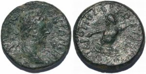Roman coin of Marcus Aurelius AE21 of Cilicia, Hieropolis-Kastabala River god Pyramus swimming right