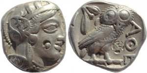 Ancient Greek coin - Attica, Athens AR Silver Tetradrachm - Judaean countermark
