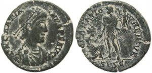 Ancient Roman coin of Gratian - REPARATIO REIPVB - Siscia