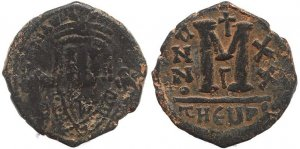 Byzantine coin of Maurice Tiberius AE Follis - Antioch - Year 20