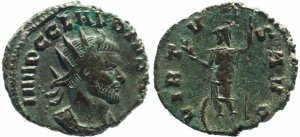 Roman coin of Claudius II Gothicus - VIRTVS AVG