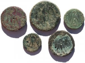 5 Ancient Uncleaned Egyptian coins - all with detail!