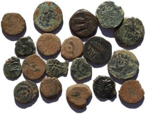Lot of 19 Uncleaned Ancient Judaean coins
