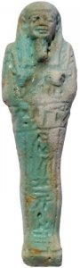 Ancient Egyptian Faience Ushabti - Late Period 27th Dynasty - Hieroglyphs