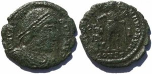 Roman coin of Valens 19mm 2.4 grams Arelate Mint 336-337AD Christogram