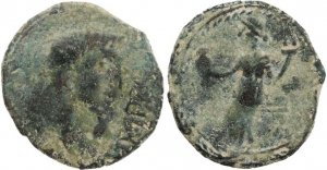 Roman coin of Augustus 27BC-14AD minted in  Irippo, Hispania circa 30BC