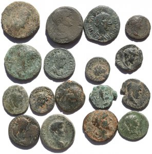 17 Ancient Holyland and European found Roman Provincial coins - 17-25mm