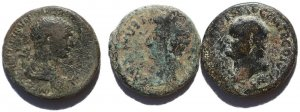 3 Large Ancient Roman coins of Augustus, Vespasian and Trajan