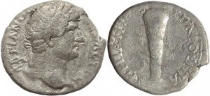 Roman Provincial coin of Hadrian AR Didrachm of Caesarea Cappadocia - Club of Hercules